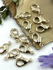 Gold Lobster Claw Solid Brass 12x7mm 12pc.