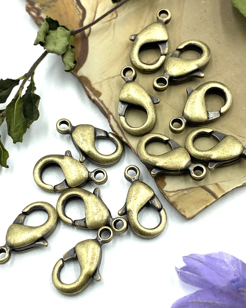 Antique Brass Lobster Claw Solid Brass 12x7mm 12pc.