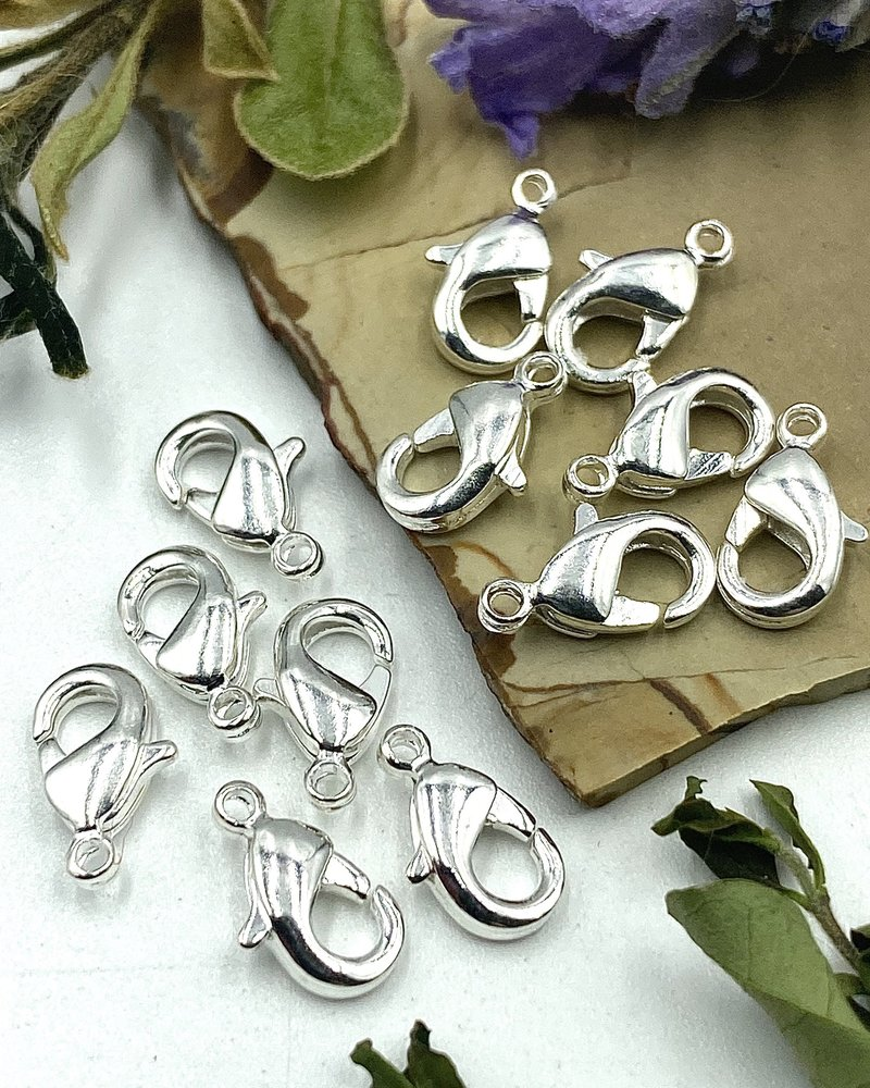 Silver Lobster Claw Solid Brass 9x5mm 12pc.