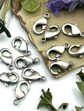 Antique Silver Lobster Claw Solid Brass 9x5mm 12pc.