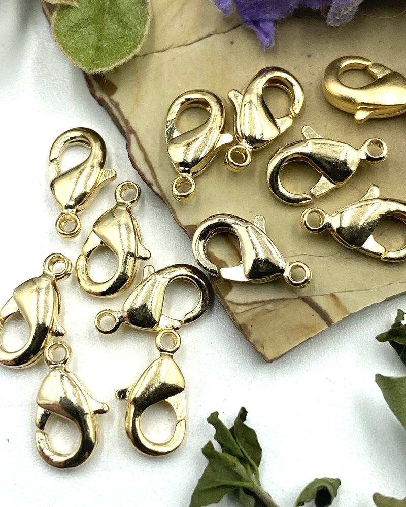 Gold Lobster Claw Solid Brass 9x5mm 12pc.