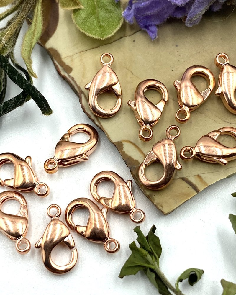 Copper Lobster Claw Solid Brass 9x5mm 12pc.
