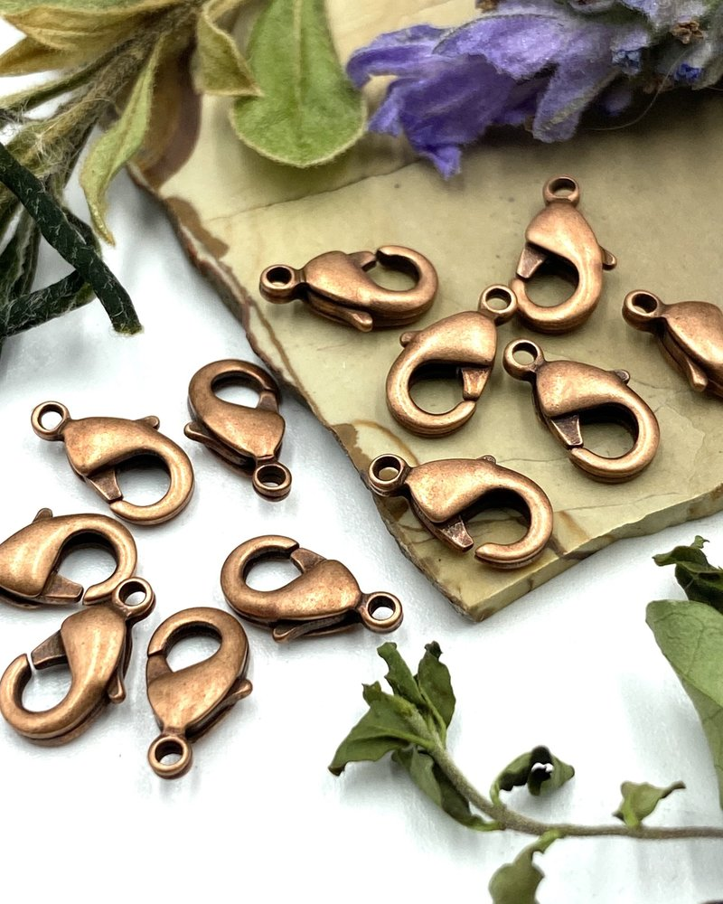 Antique Copper Lobster Claw Solid Brass 9x5mm 12pc.