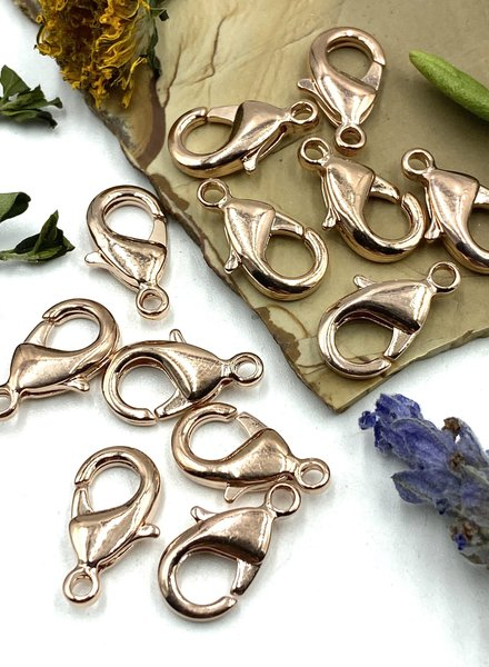 Rose Gold Lobster Claw Solid Brass 15x9mm 12pc.