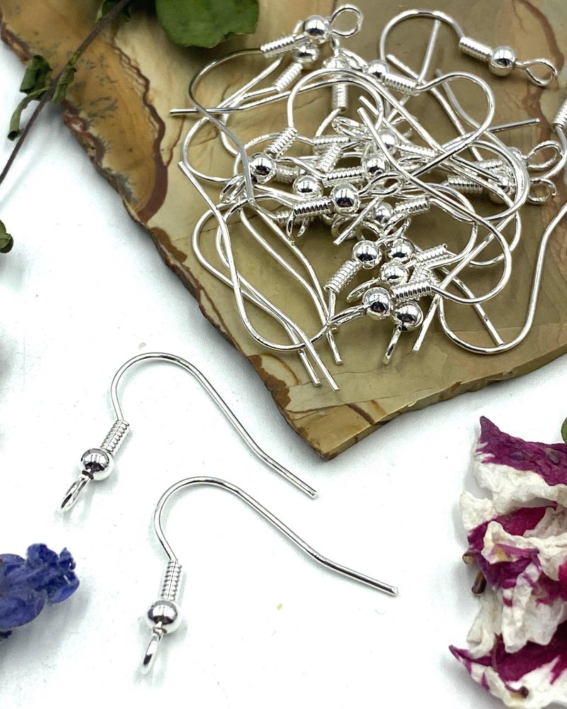 SILVER French Earwire with Ball & Coil