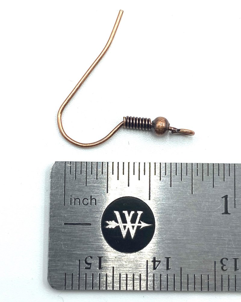 ANTIQUE COPPER French Earwire with Ball & Coil