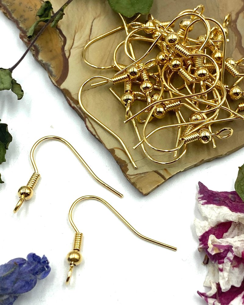GOLD French Earwire with Ball & Coil