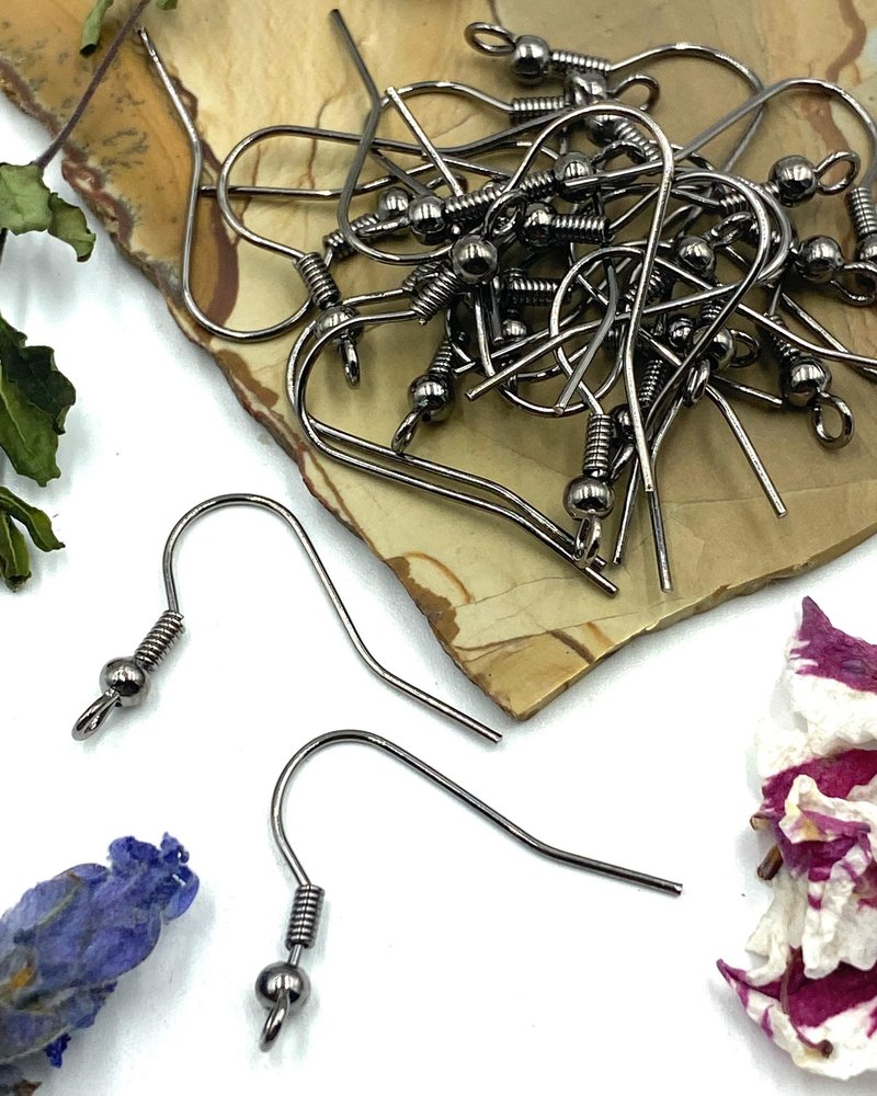 GUNMETAL French Earwire with Ball & Coil