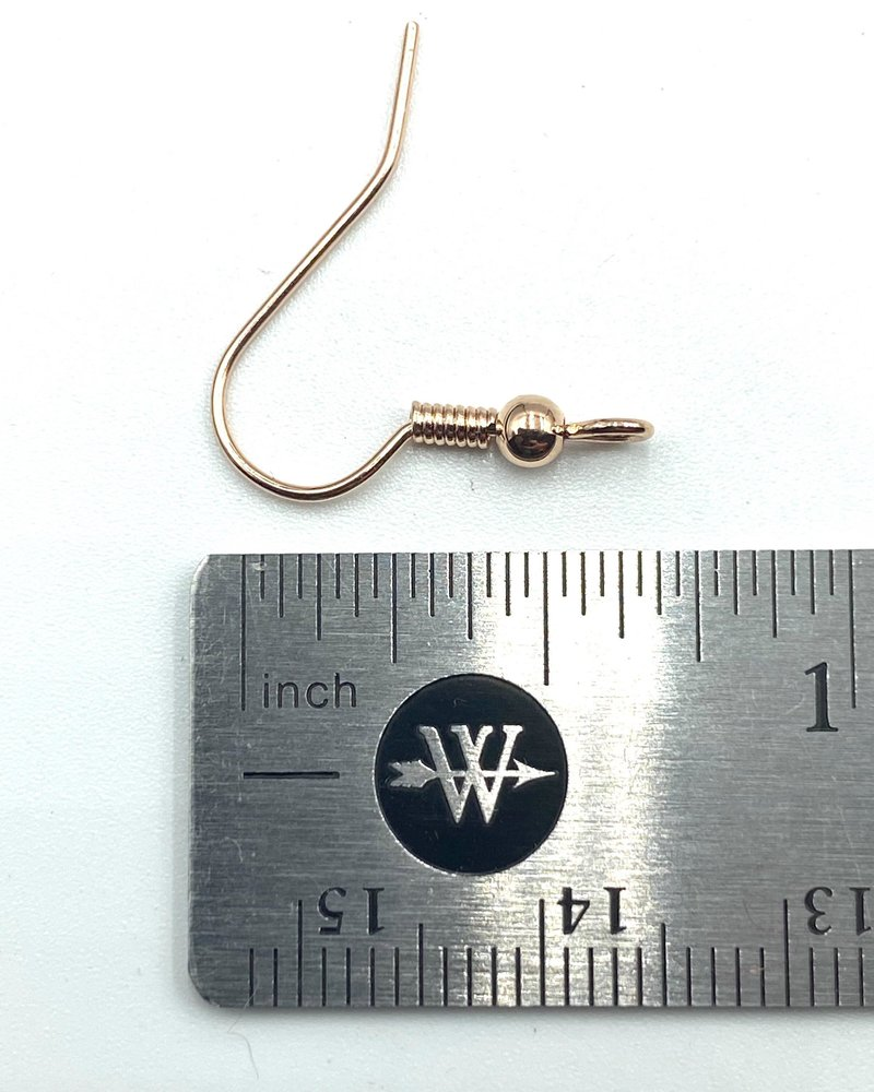 ROSE GOLD French Earwire with Ball & Coil