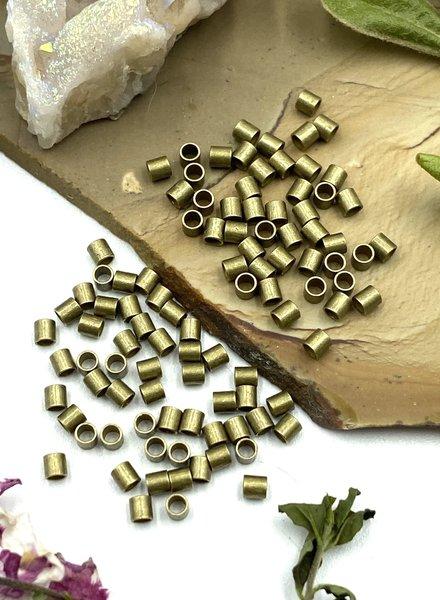 2x2 Antique Brass Tube Crimp Bead-100pc