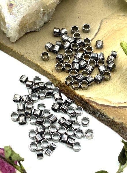 2x2 Gunmetal Tube Crimp Bead-100pc