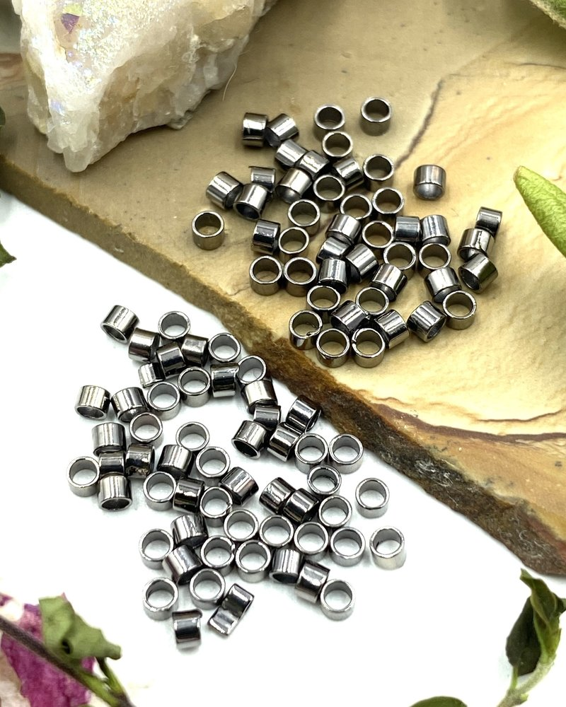 2x2 Gunmetal Tube Crimp Bead-100pc