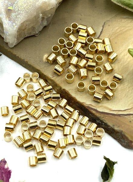 2x2 Gold Tube Crimp Bead-100pc