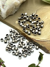 2x2 Antique Silver Tube Crimp Bead-100pc
