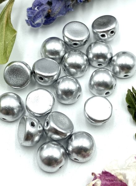 CzechMates Cabochon 7mm  Matte - Metallic Silver