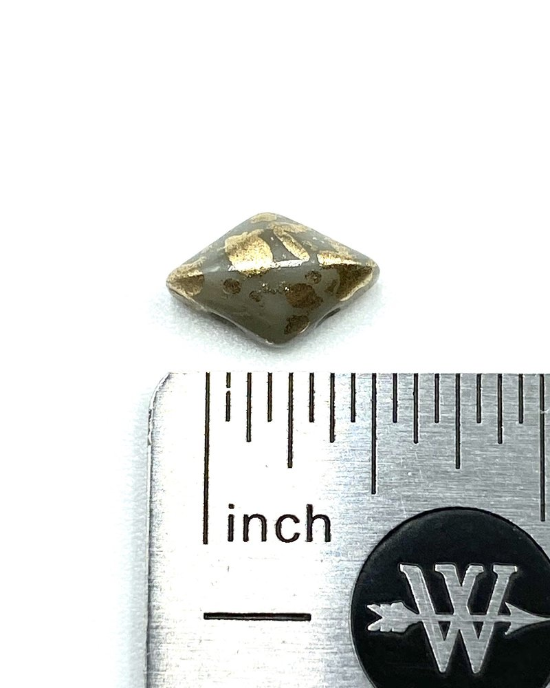 GEMDUO 8X5MM GOLD SPLASH GRAY OPAQUE
