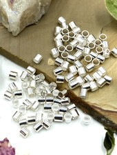 2x2 Silver Tube Crimp Bead-100pc