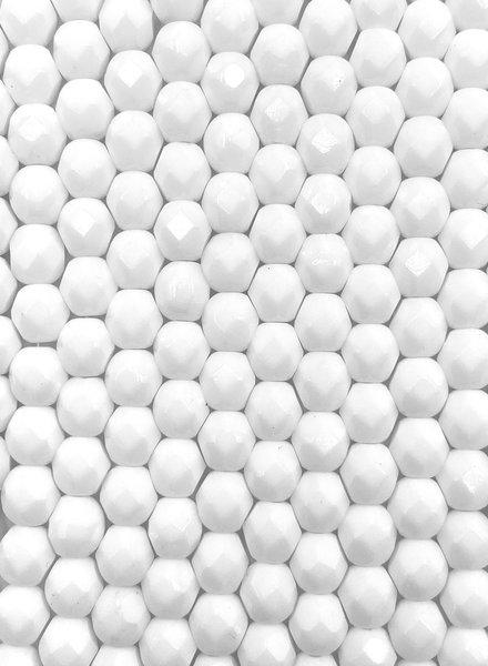 Fire-Polish 6mm : Opaque White