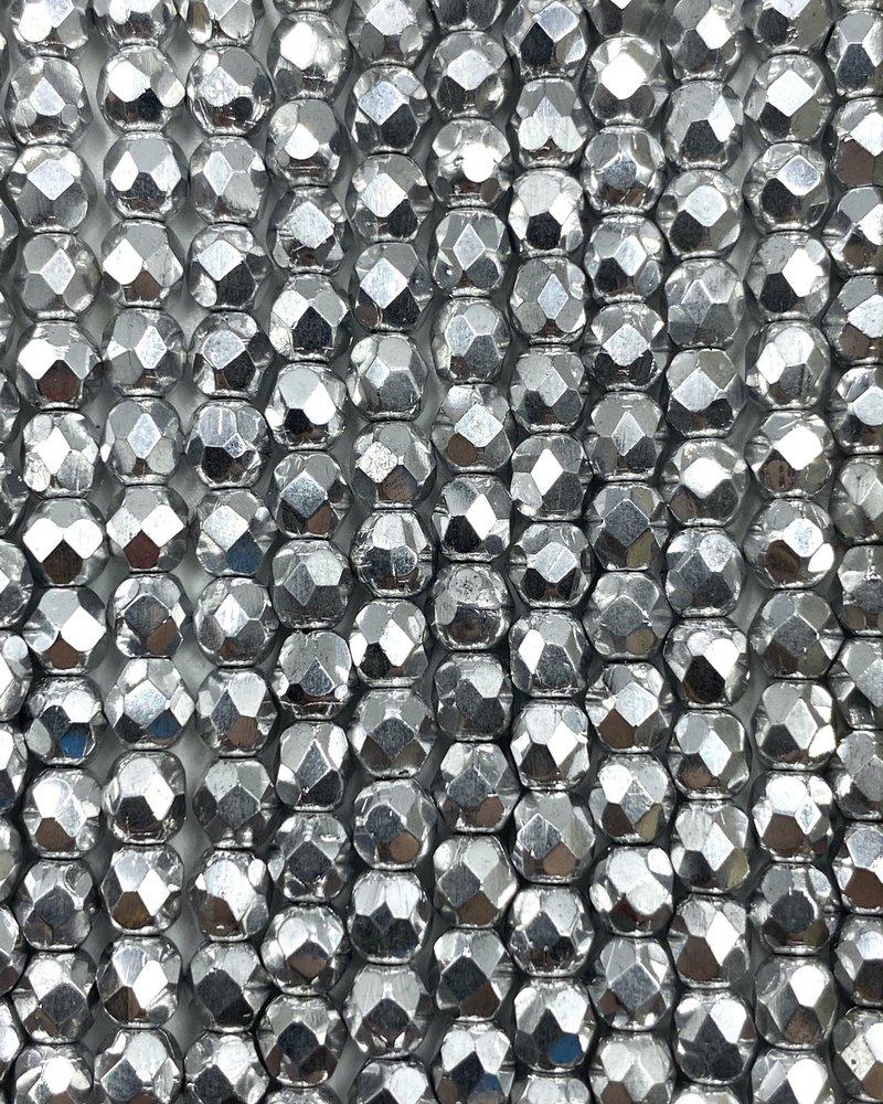 Fire-Polish 4mm : Silver