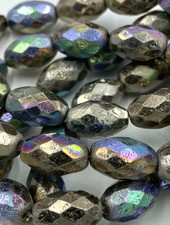 12x8mm Barrel Bead- MultiColor Metallic- 6 Beads