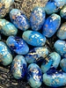 12x8mm Barrel Bead- Blue with Gold Specks- 6 BEADS