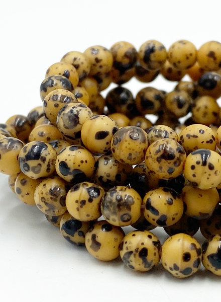 6mm Round Druk Butterscotch with Speckled Black Finish