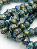 6x9mm Large Hole Roller Bead Sapphire and Sky Blue with Etched and Gold Wash