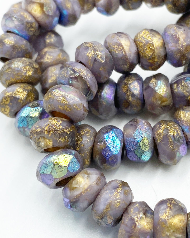 6x9mm  Large Hole Roller Bead Purple with Etched and Gold Wash