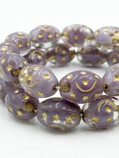 12x9mm Barrel Gold Stars- Crystal Ant. Lavender
