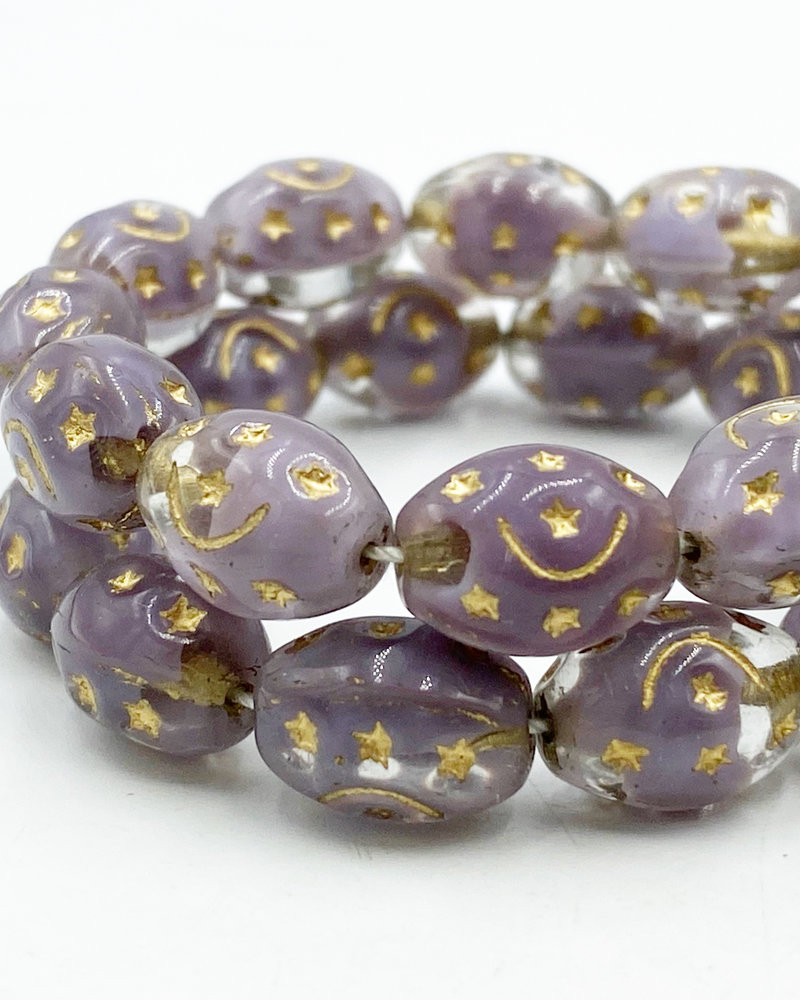 12x9mm Barrel Gold Stars- Crystal Ant. Lavender