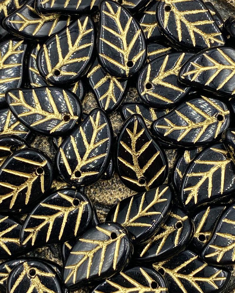 14x9 Jet Gold Leaf- 10 Beads