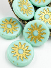 22mm Sun Coin- Matte Mint Gold Wash- 1 Bead
