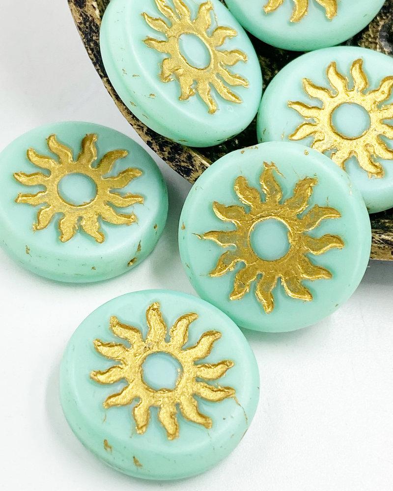 22mm Sun Coin- Matte Mint Gold Wash- 1 Bead
