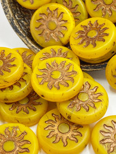 22mm Sun Coin- Dandelion Yellow Bronze Wash- 1 BEAD