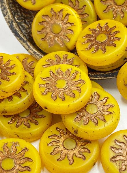 22mm Sun Coin- Dandelion Yellow Bronze Wash- 1 BEAD
