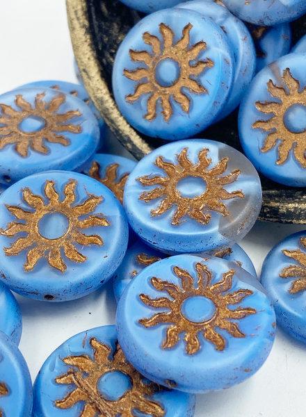 22mm Sun Coin- Matte Cornflower Bronze Wash