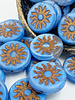 22mm Sun Coin- Matte Cornflower Bronze Wash