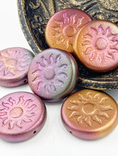 22mm Sun Coin- Metallic Mix- BRONZE- 1 BEAD