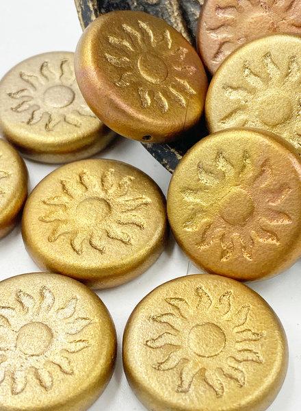 22mm Sun Coin- Metallic Mix- GOLDEN BRONZE- 1 BEAD