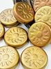 22mm Sun Coin- Metallic Mix- GOLDEN BRONZE- 1 BEAD