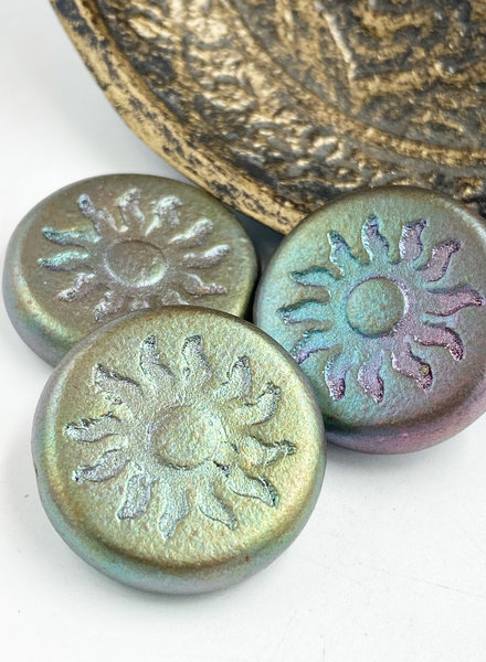 22mm Sun Coin- Metallic Mix- EMERALD BRONZE- 1 BEAD