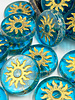 22mm Sun Coin- Transparent Pacific Blue Gold Wash