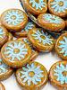 22mm Sun Coin- Cinnamon Turquoise Wash - 1 BEAD