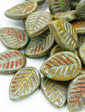 12x16mm Leaf Beads-Green Turquoise Picasso
