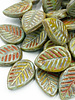 16x12mm Leaf Beads-Green Turquoise Picasso