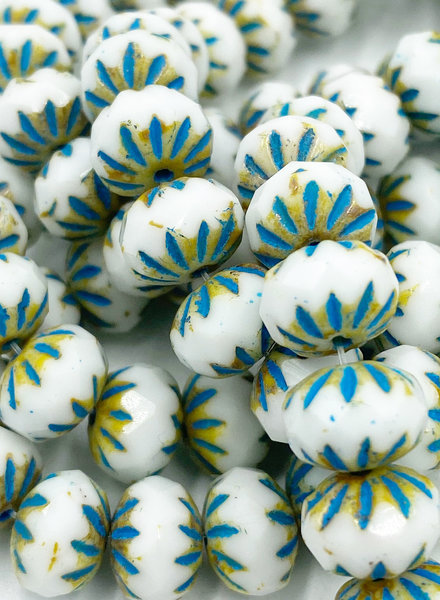 7x10mm Cruller White Picasso Turquoise Wash