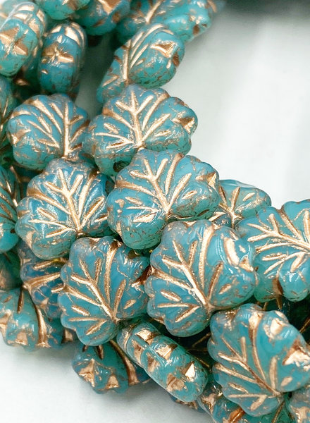 10x13mm Maple Leaf Sea Green Copper Wash