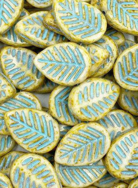 12x16mm Dogwood Leaves Turquoise Honey Picasso