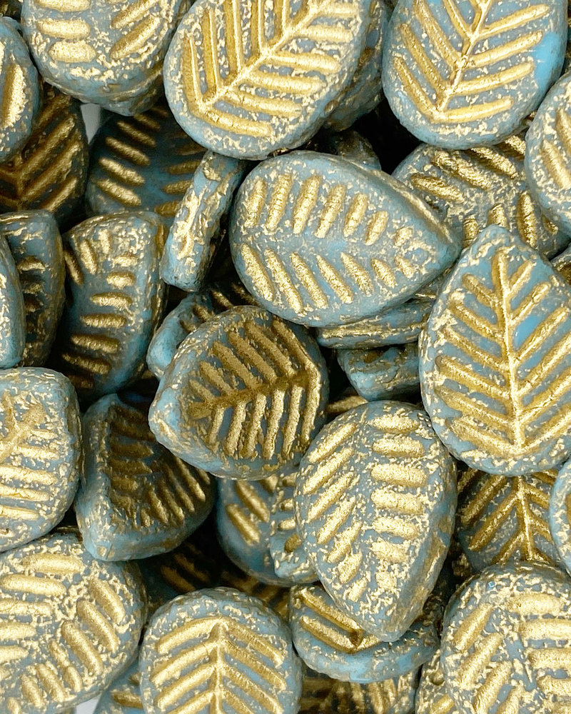 12x16mm Leaves Medium Sky Blue Etched Gold