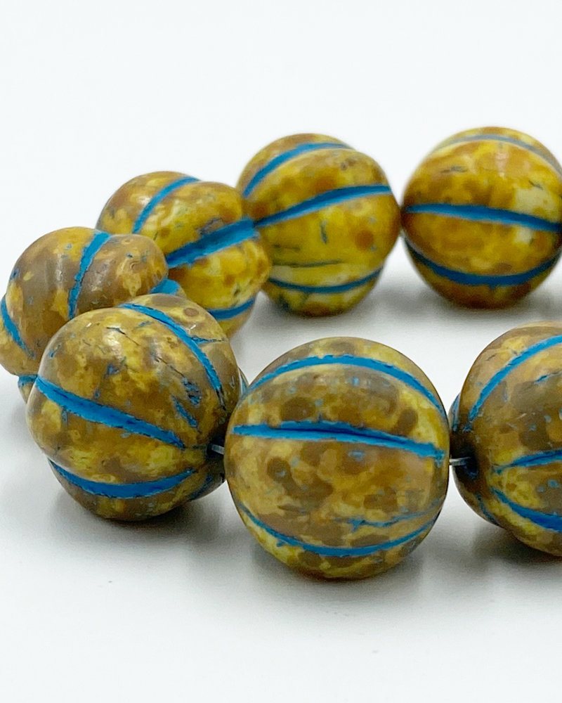 14mm Melon Yellow Picasso Turquoise Wash